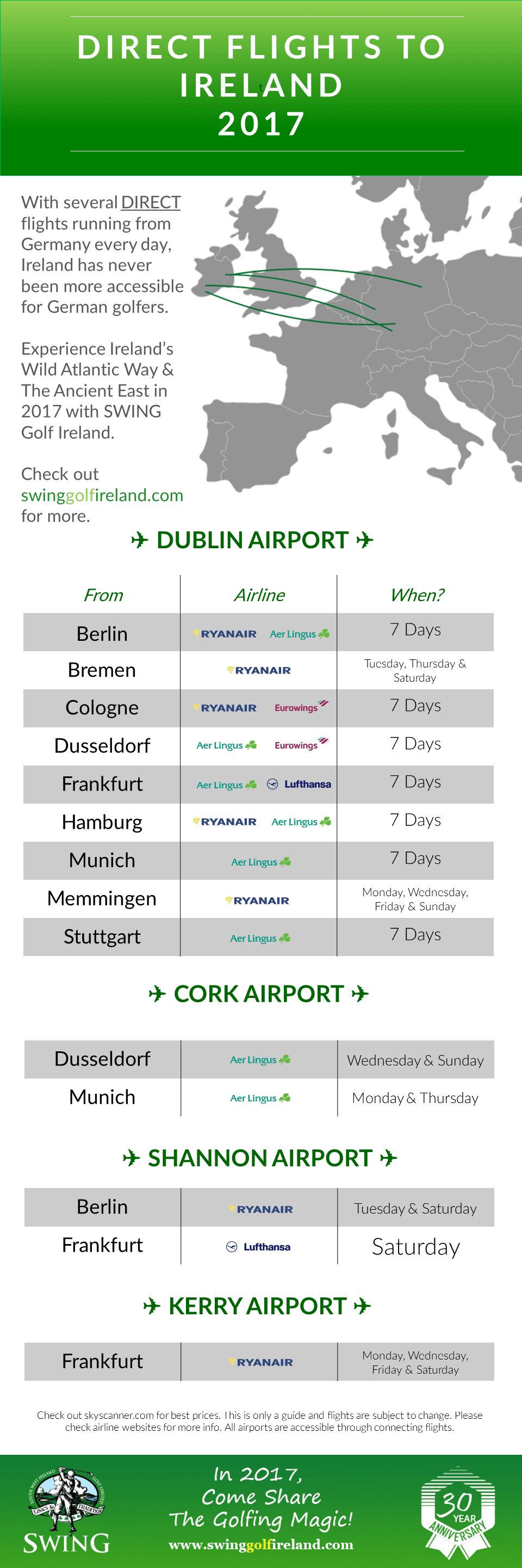 Direct Flights To Ireland  From Germany 2017